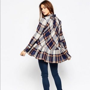 Free people NWOT PEPPY IN PLAID S